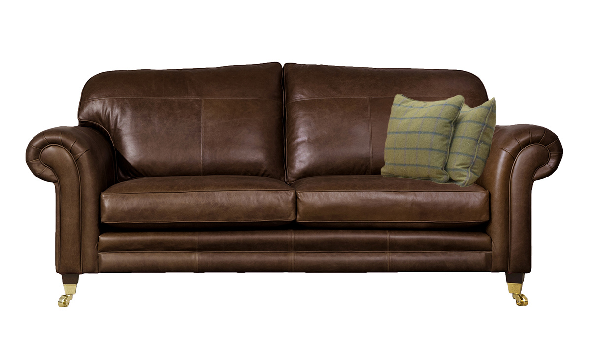 3 Seater  Louis Sofa Leather Mustang Dark Brown