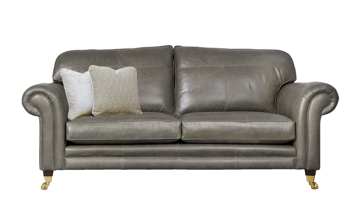 3 Seater  Louis Sofa Leather MustangDove Grey