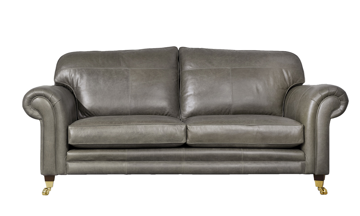 Large Leather Louis Sofa in Mustang Dove Grey