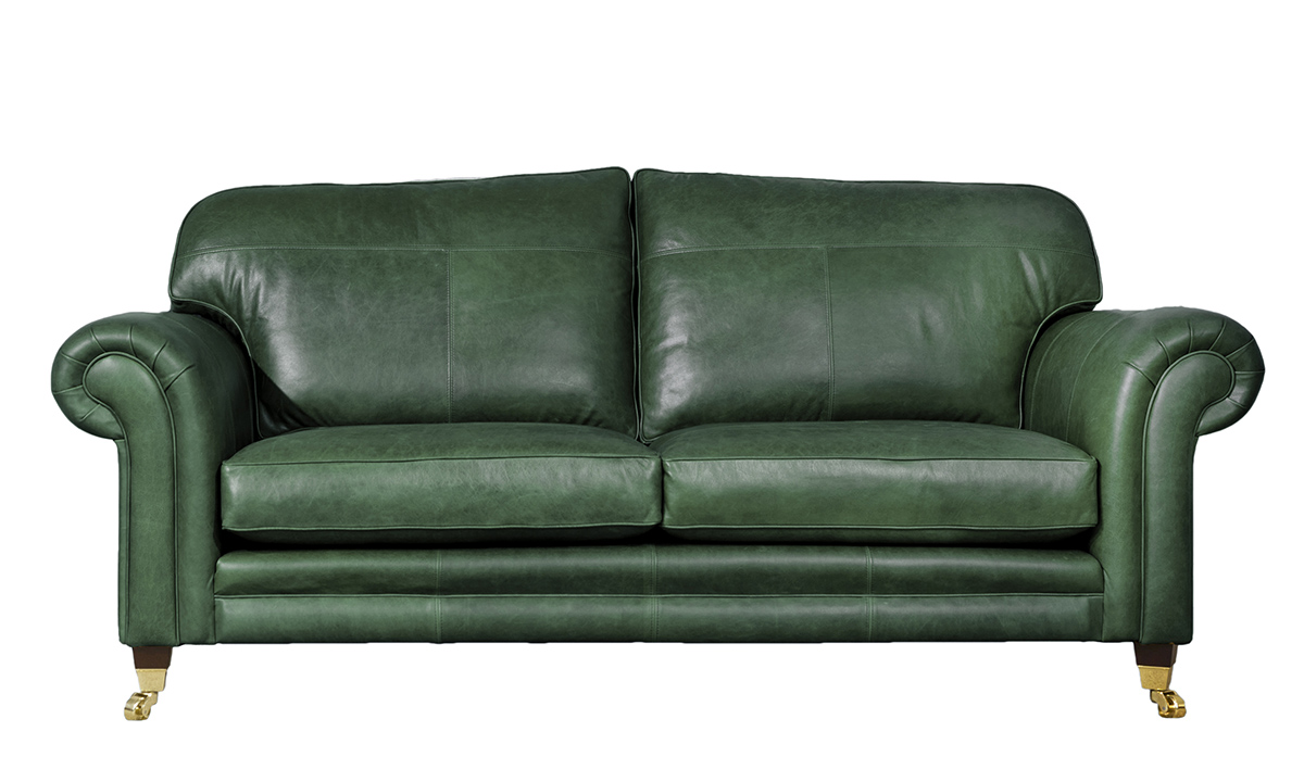 Large Leather Louis Sofa in Mustang Emerald