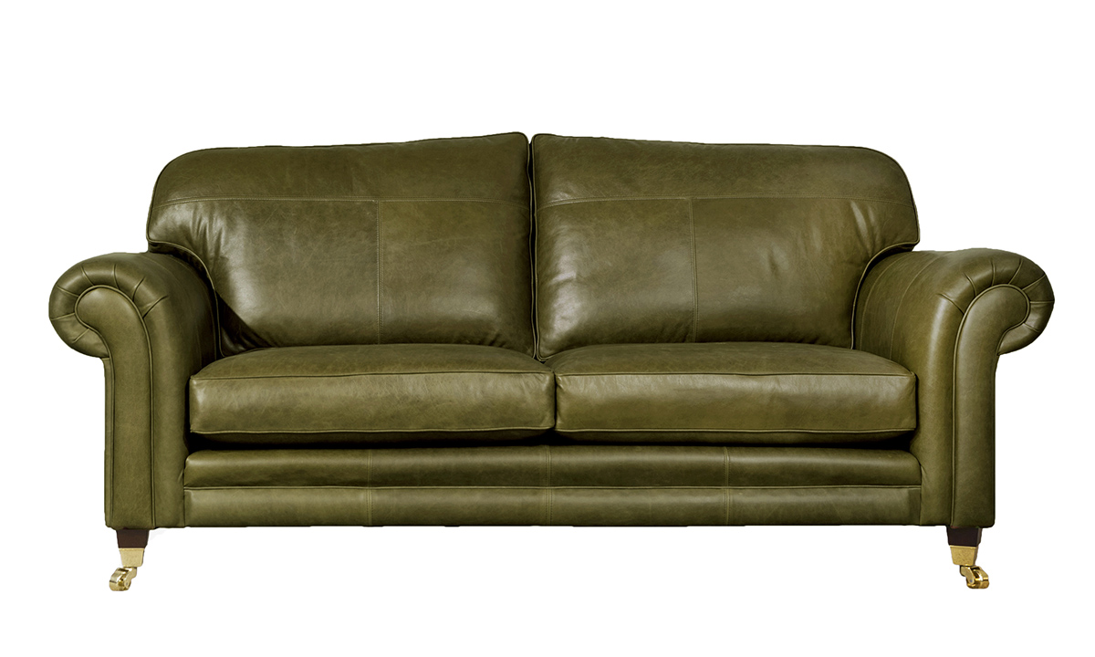 Large Leather Louis Sofa in Mustang Olive