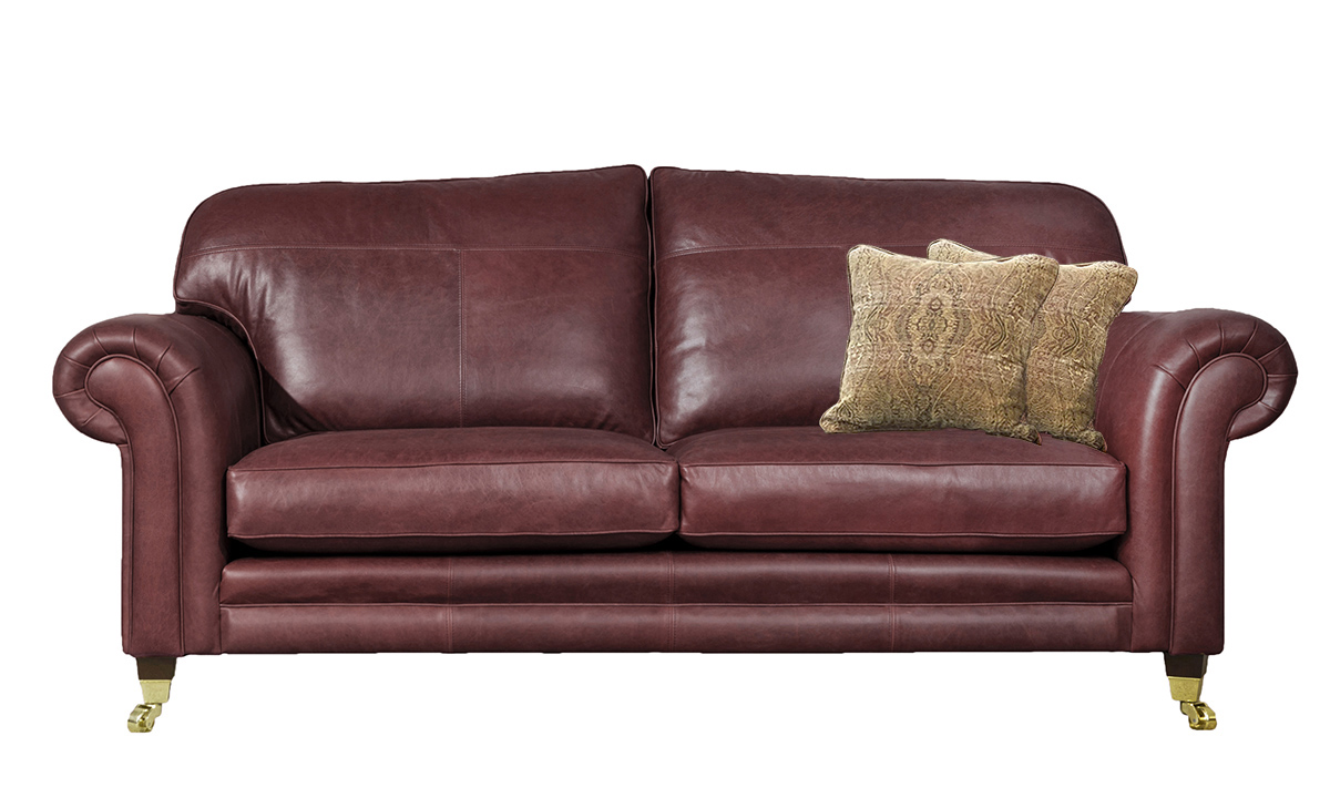 3 Seater  Louis Sofa Leather Mustang Ox Blood