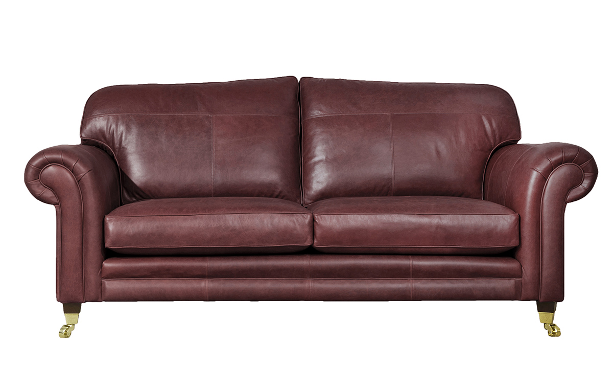 Large Leather Louis Sofa in Mustang Ox Blood
