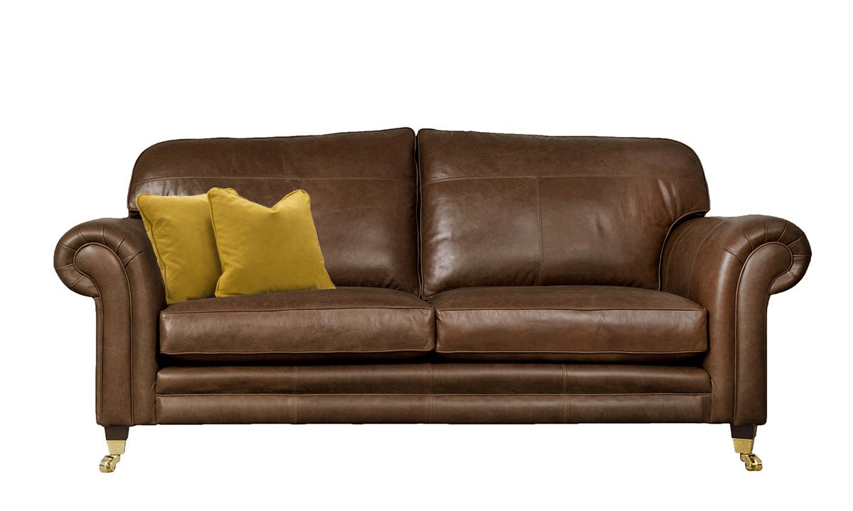 3 Seater  Louis Sofa Leather Mustang Rust