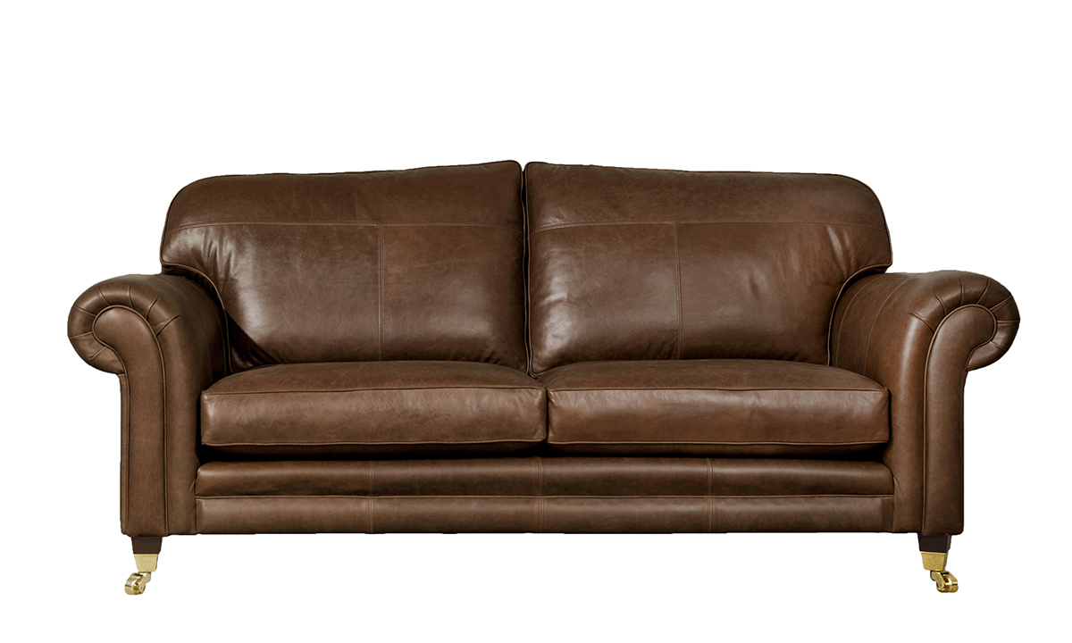 Large Leather Louis Sofa in Mustang Rust