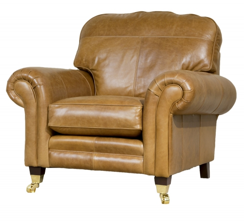 Leather Louis Chair - Mustang Tan