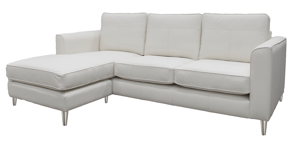 Leather Nolan 3 Seater Chaise End Side - Style Chalk