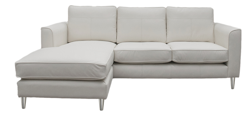 Leather Nolan 3 Seater Chaise End - Style Chalk