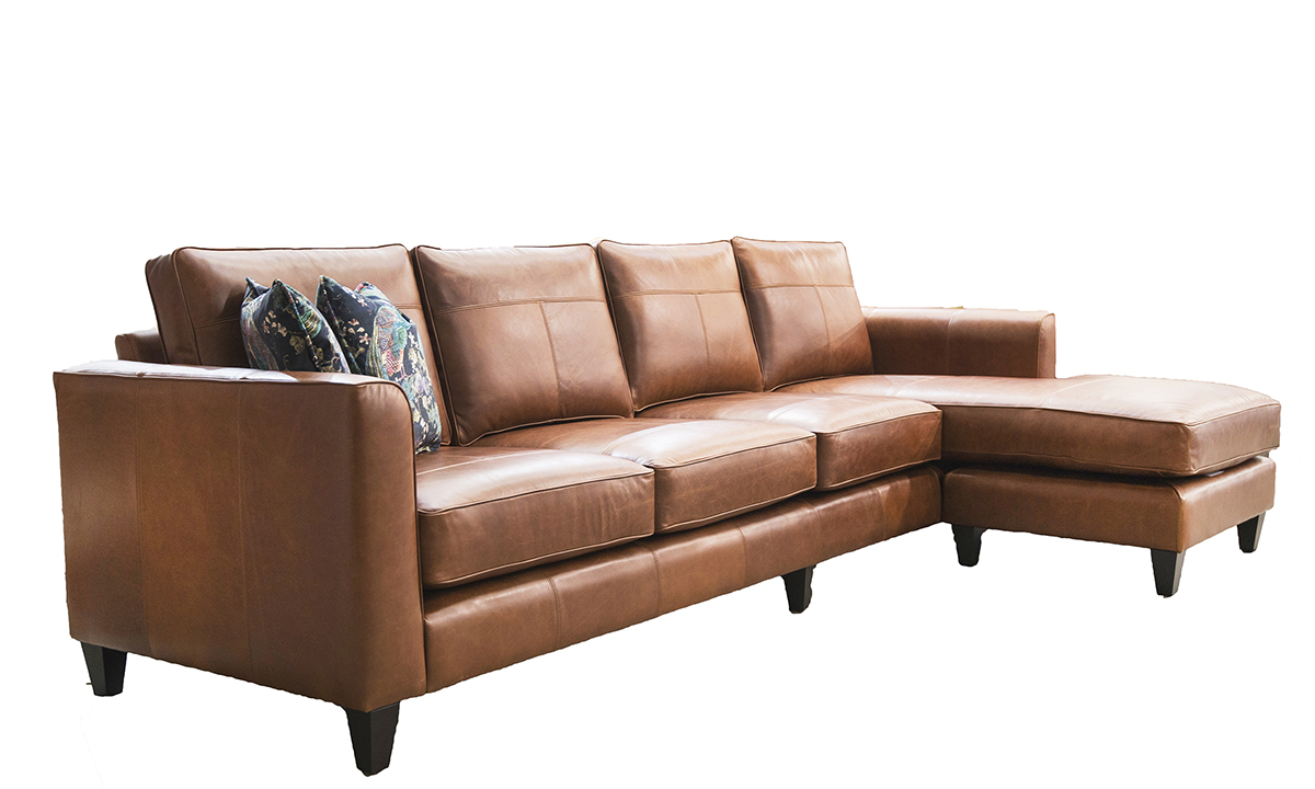 Leather Nolan 4 Seater Chaise End Sofa in Mustang Rust