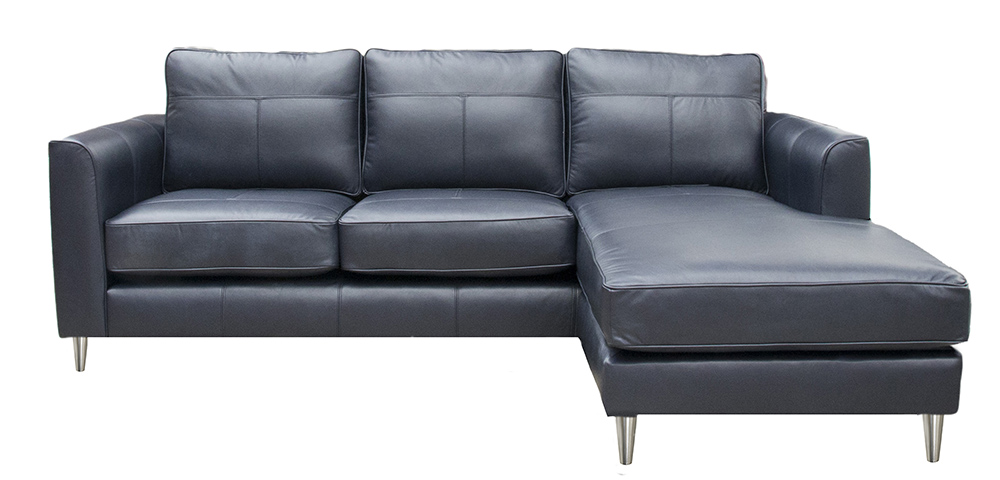 Leather Nolan Chaise End Sofa - Chelsea Blueberry
