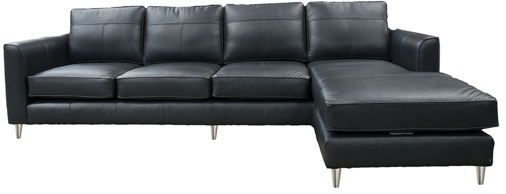 Leather Nolan Chaise End Sofa - Chelsea Charcoal