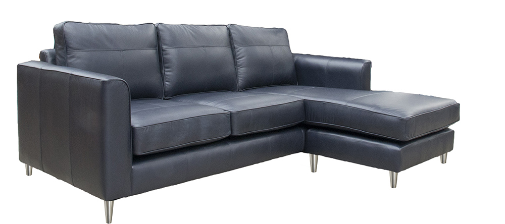 Leather Nolan Chaise End Sofa Side - Chelsea Blueberry