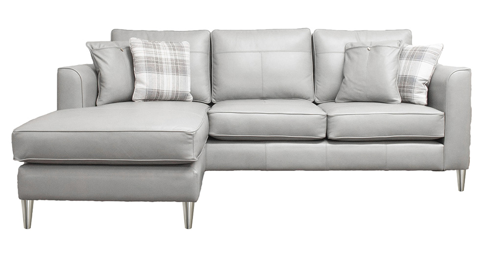 Leather Nolan Large Sofa Chaise End Chelsea Dove Grey