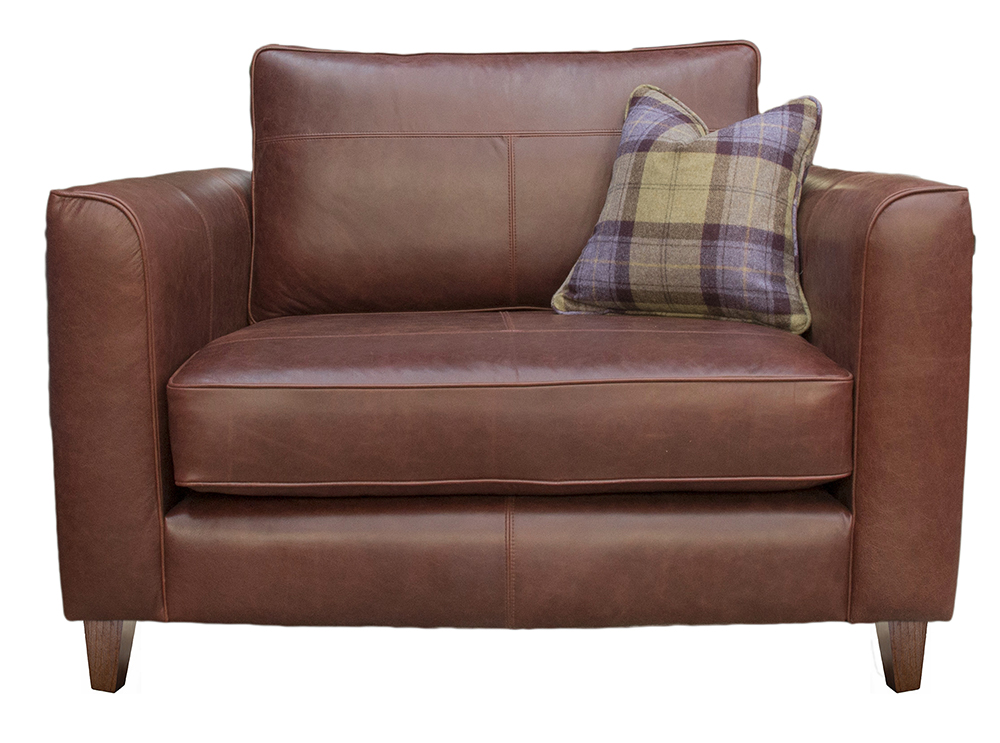 Leather Nolan Love Seat - Mustang Chestnut