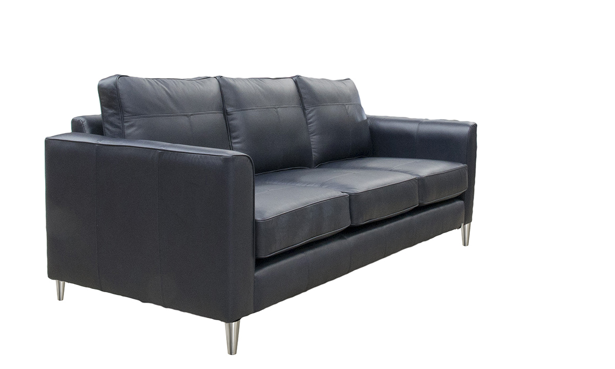 Large Leather Nolan Sofa in Chelsea Blueberry