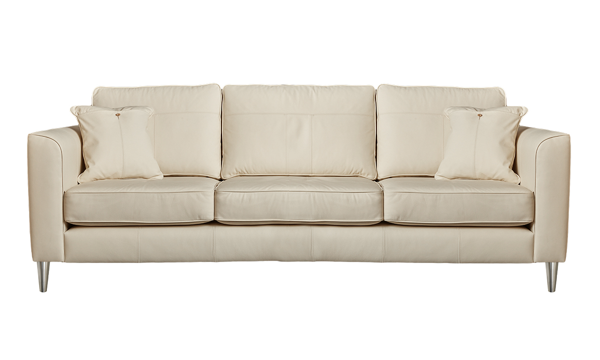 Large Leather Nolan Sofa in Capri Chalk
