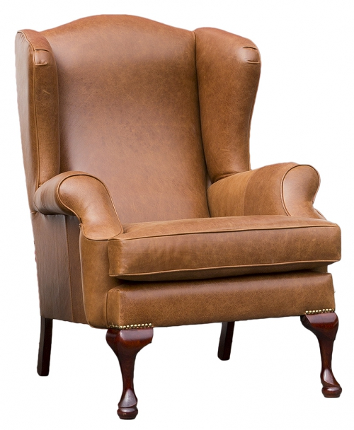 Leather Queen Anne - Mustang Tan