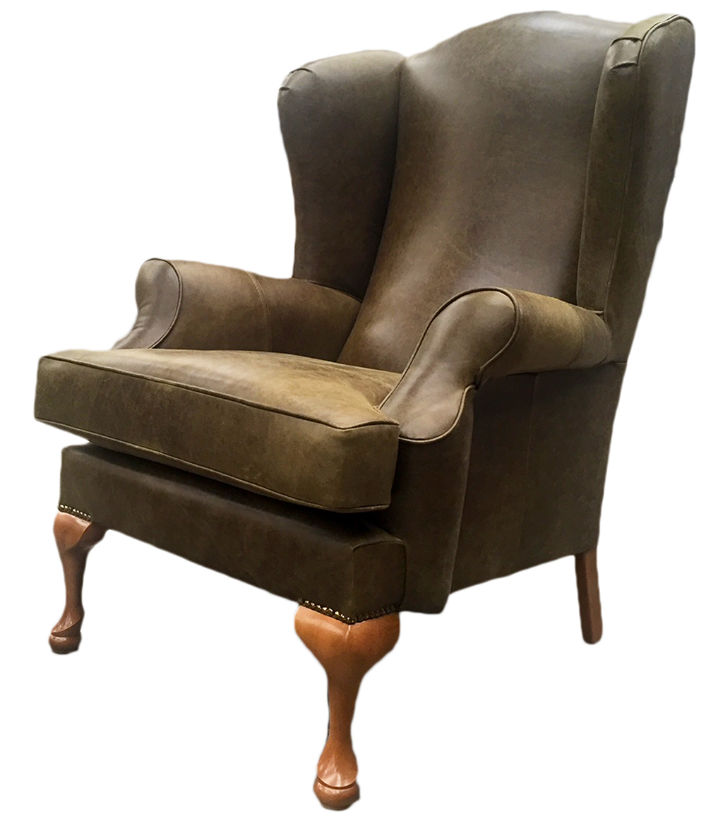 Leather Queen Anne Chair In Mustang Moss Side
