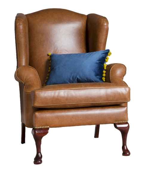 Leather Queen Anne Chair - Mustang Tan
