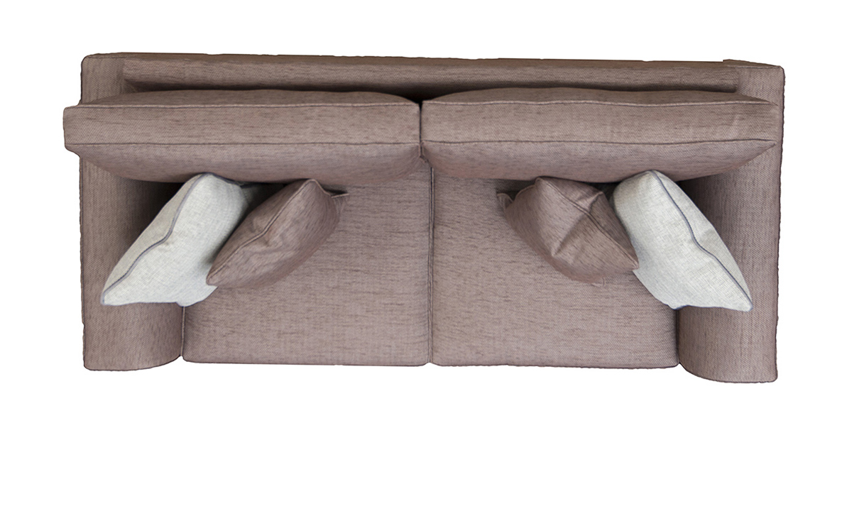 Leon Large Sofa Top View in Lenora Grape, Silver Collection Fabric