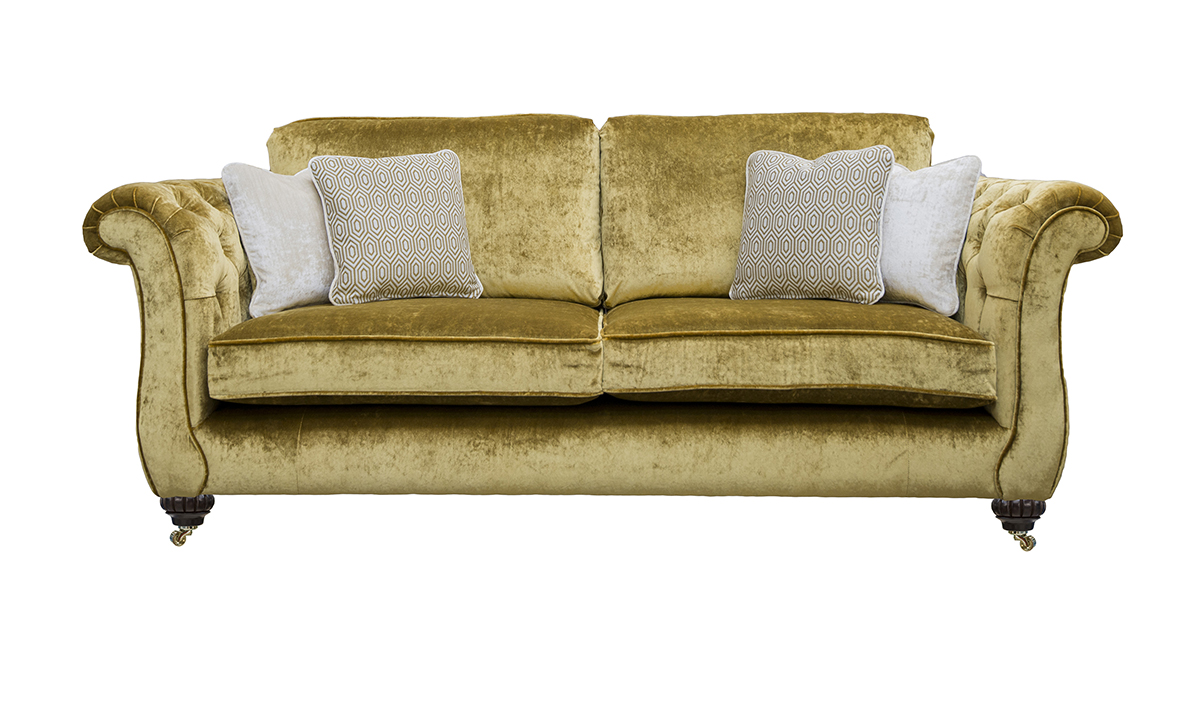 Letrec Large Sofa with Deep Button Arms in Stella Mustard, Platinum Collection Fabric