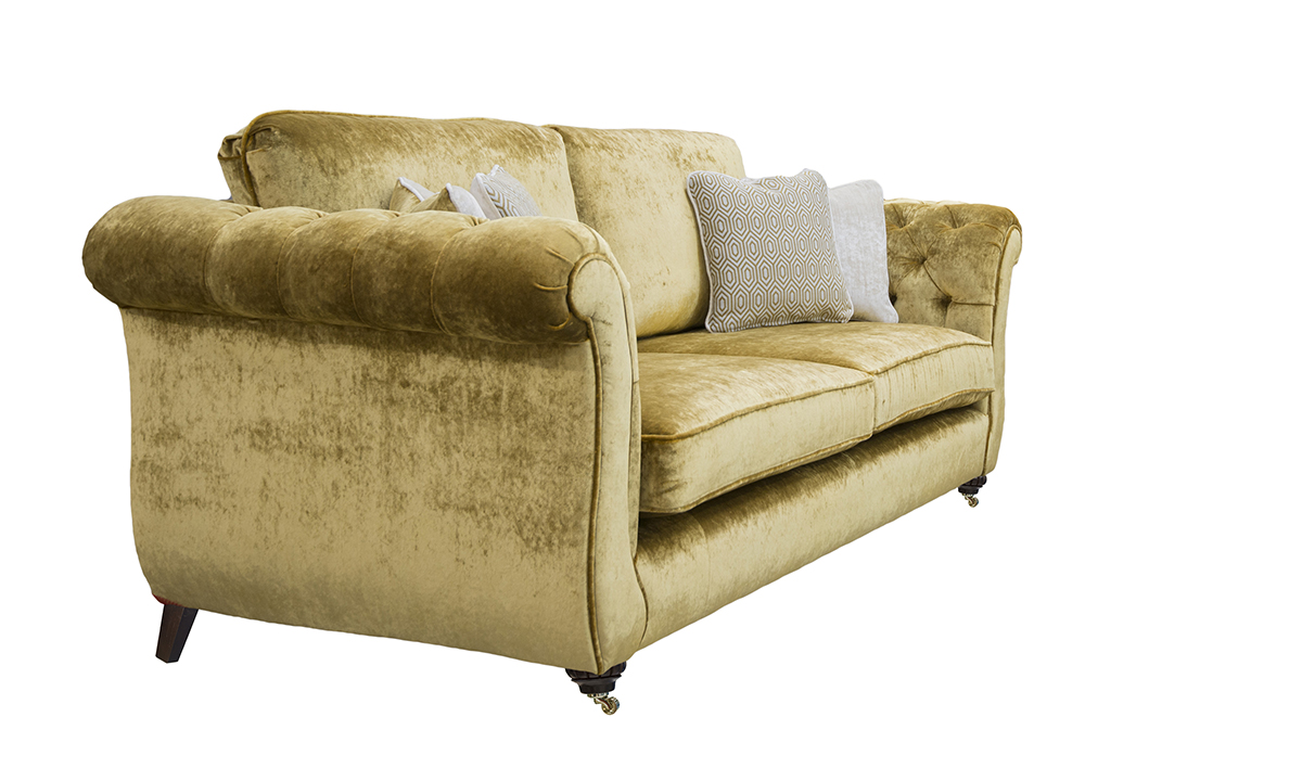 Letrec Large Sofa with Deep Button ArmsSide in Stella Mustard, Platinum Collection Fabric