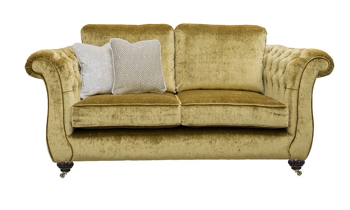 Letrec Small Sofa with Deep Button Arms in Stella Mustard, Platinum Collection Fabric