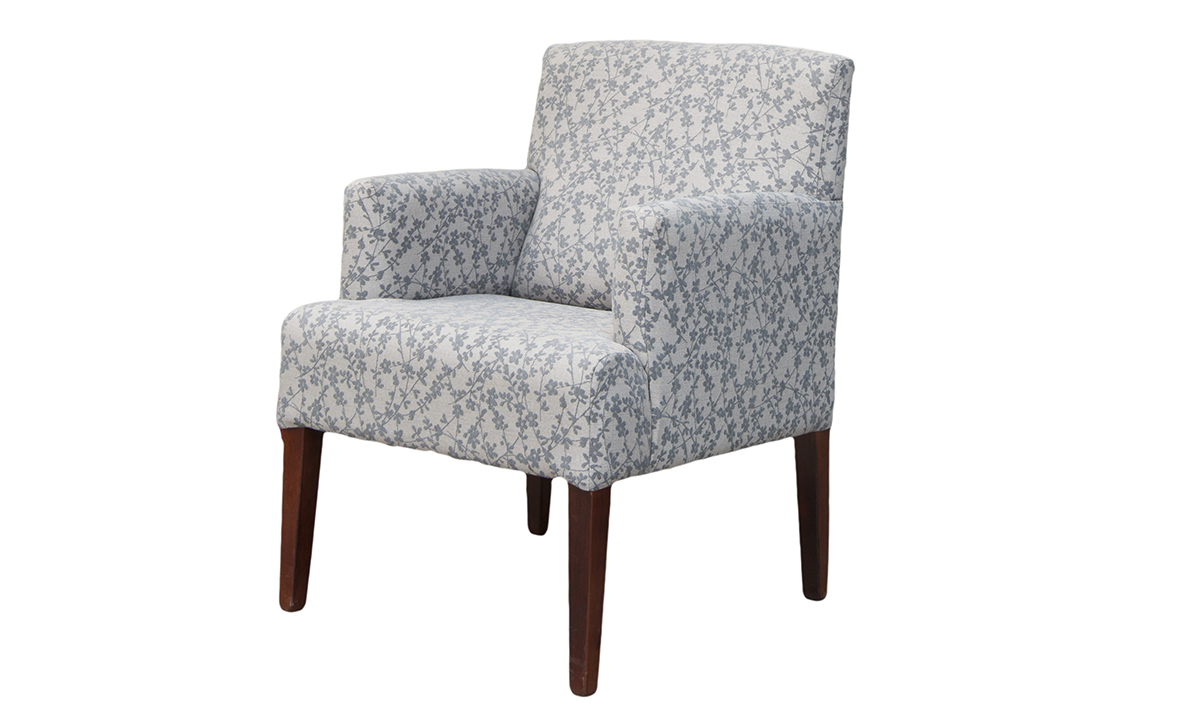 Lisa Chair Side in Kwint Grey, Silver Collection Fabric