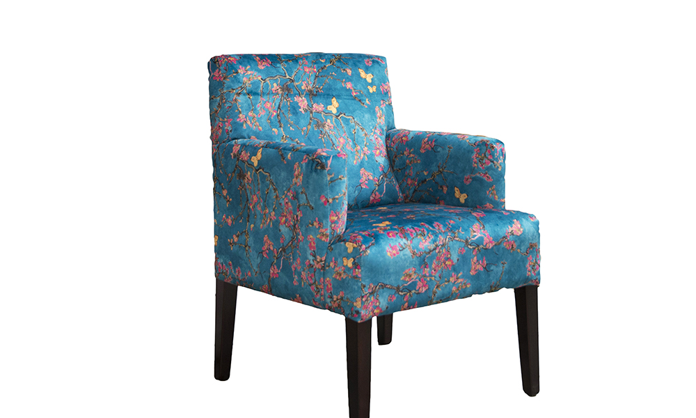Lisa Chair in Trussardi print, Gold Collection Fabric