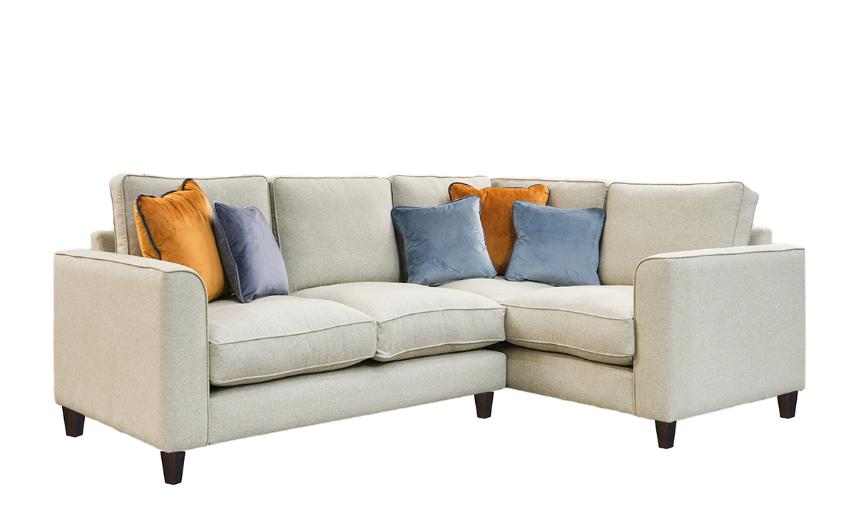Bespoke Logan Corner Sofa, with Fibre Filled Cushions in Luxor Marigold, Silver Collection Fabric
