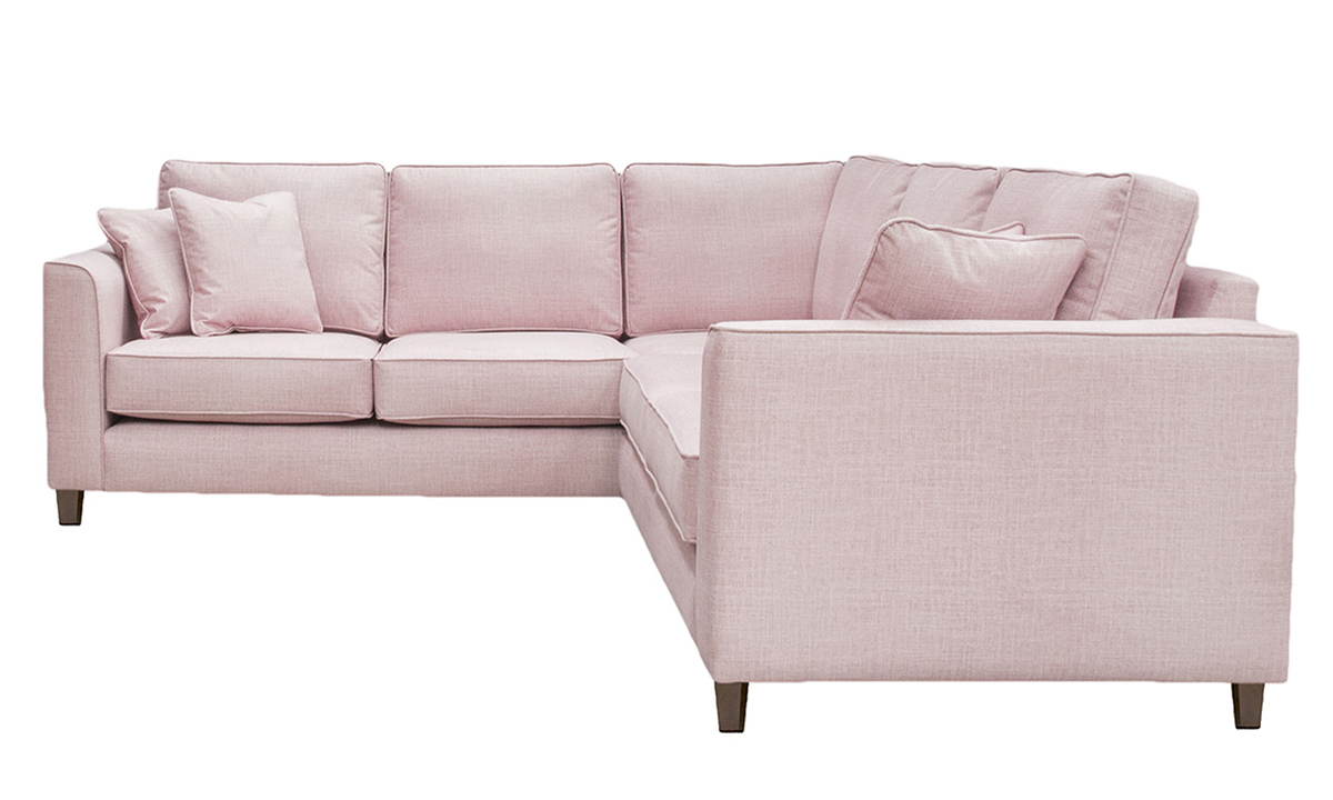 Logan Corner Sofa in Havana Rose, Silver Collection Fabric