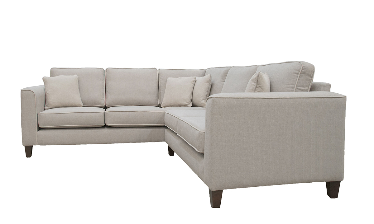 Logan Corner Sofa in Aosta Linen, Silver Collection Fabric