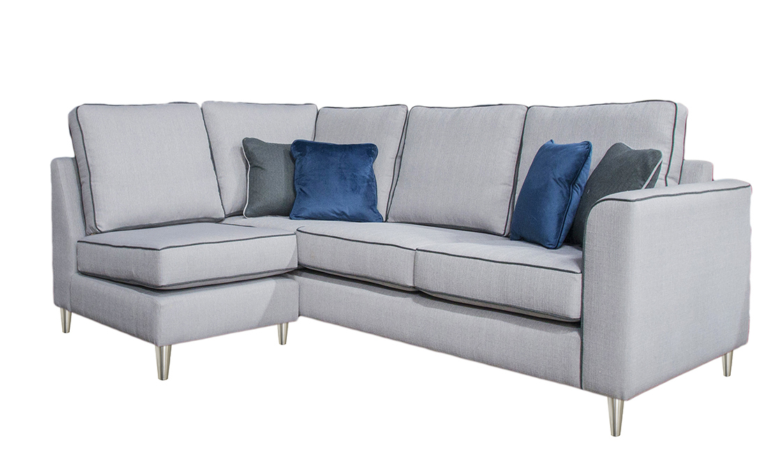 Logan Corner Sofa in  Aosta Silver, Silver Collection Fabric