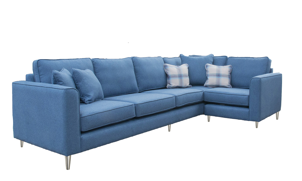 Bespoke Size Logan Corner Sofa in Tweed Navy, Silver Collection Fabric
