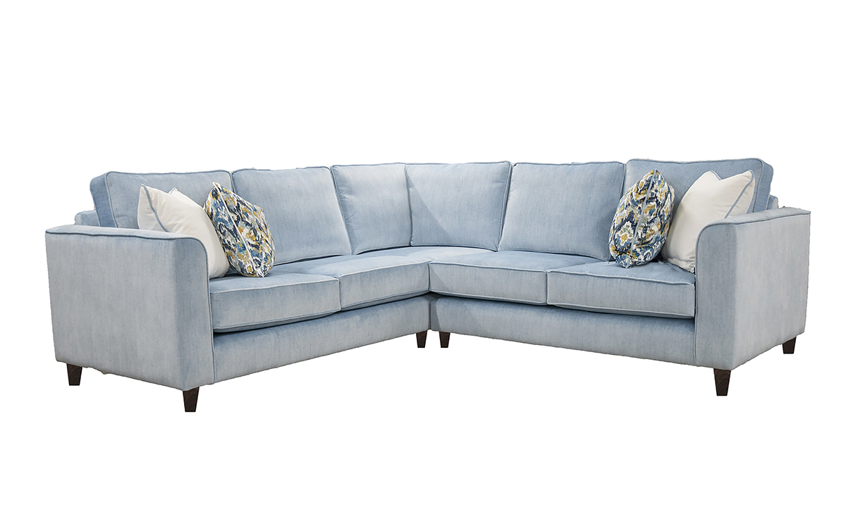 Logan Corner Sofa in JBrown Odyssey Sky, Gold Collection Fabric