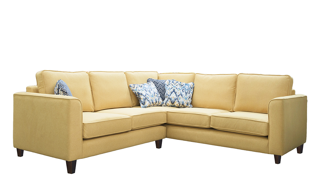 Logan Corner Sofa in Soho Mustard, Silver Collection Fabric