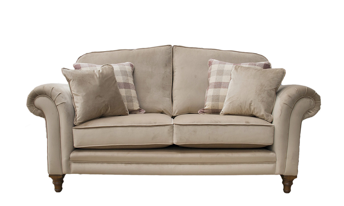 Louis 2 Seater Sofa in Luxor Tobacco Silver Collection Fabric
