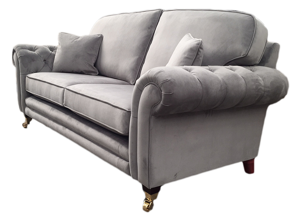 Louis Sofa with Deep Button Arms in Plush Slate Platinum Collection Fabric