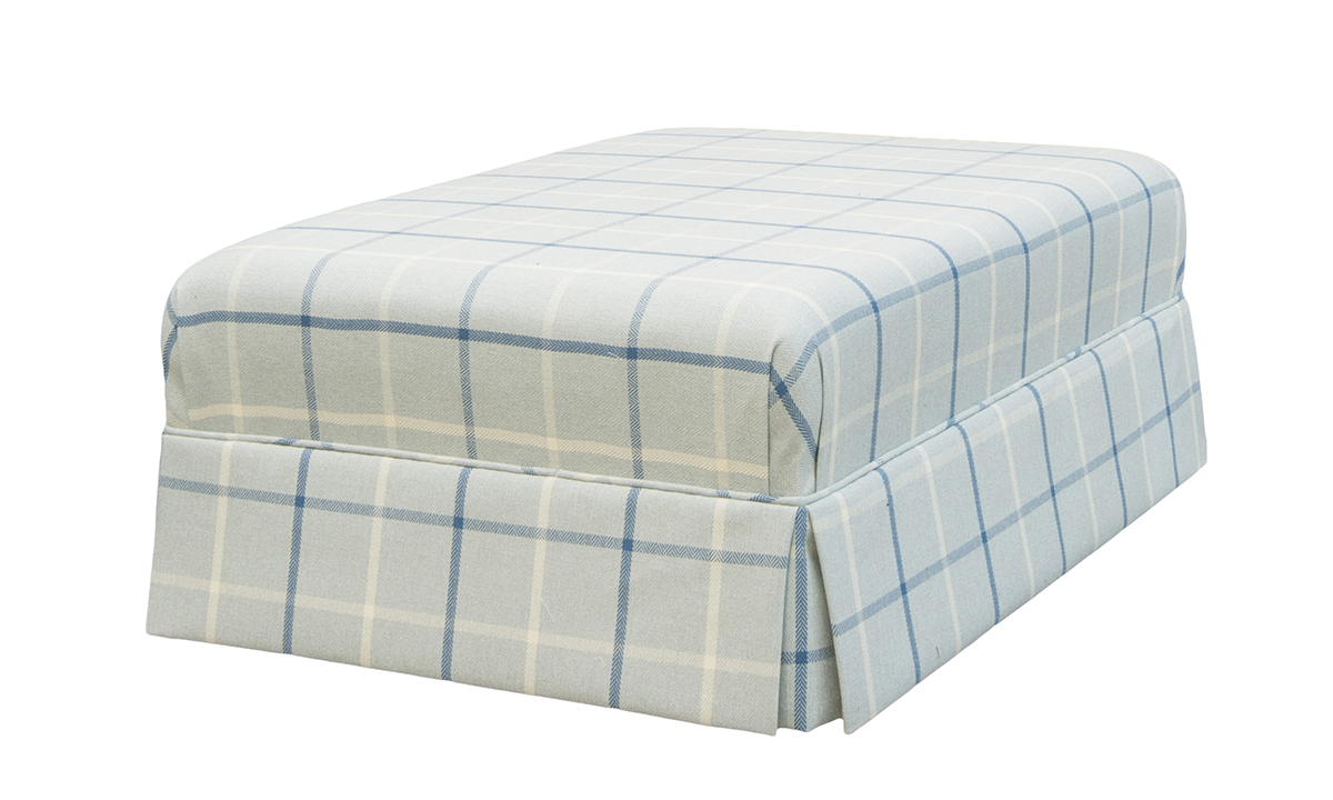 Madison Footstool Side in Fontington Pia 1616 Ocean Check
