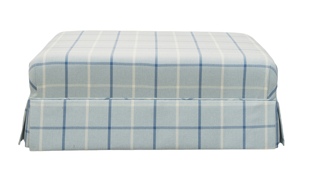 Madison Footstool in Fontington Pia 1616 Ocean Check
