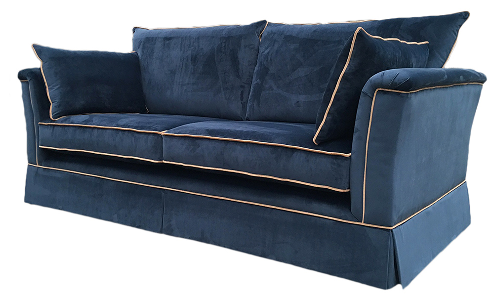 Madison Large Sofa in Luxor Pacific - Contrast Piping side