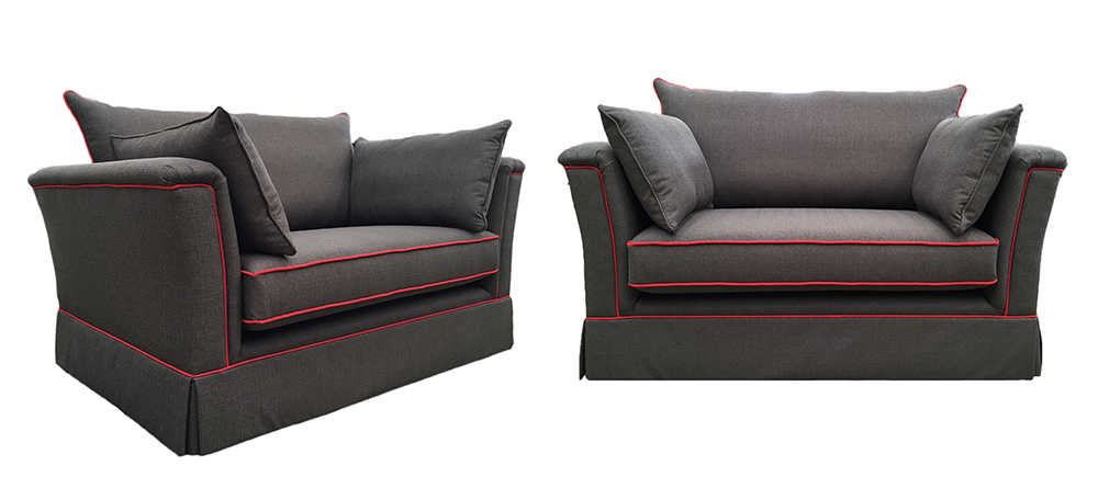 Madison Love Seat - Texas Plain - Red contrast piping