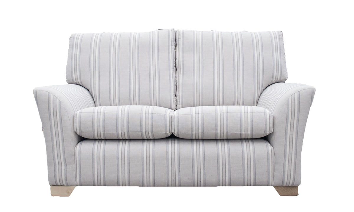 Malton 2 Seater Sofa in Volkan Stripe, Silver Collection Fabric