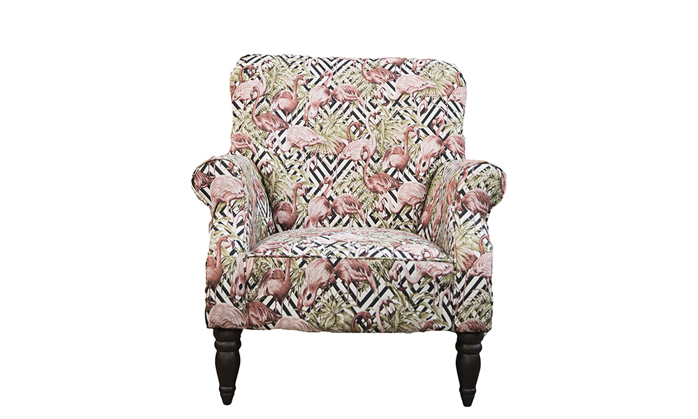Matisse Chair in Flamingo Brick, Gold Collection Fabric