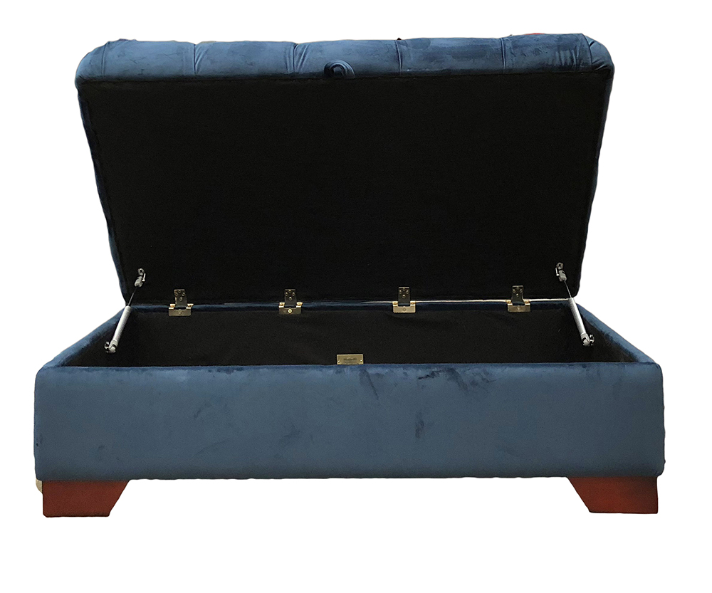 Monroe Footstool Deep Button & Storage in Customers Own Fabric