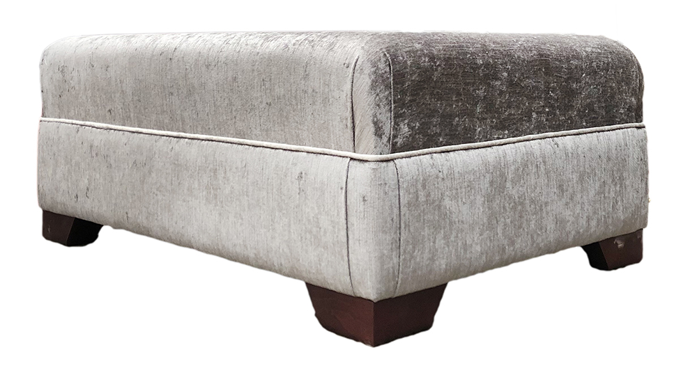 Monroe Footstool in Edinburgh French Grey Silver Collection Fabric