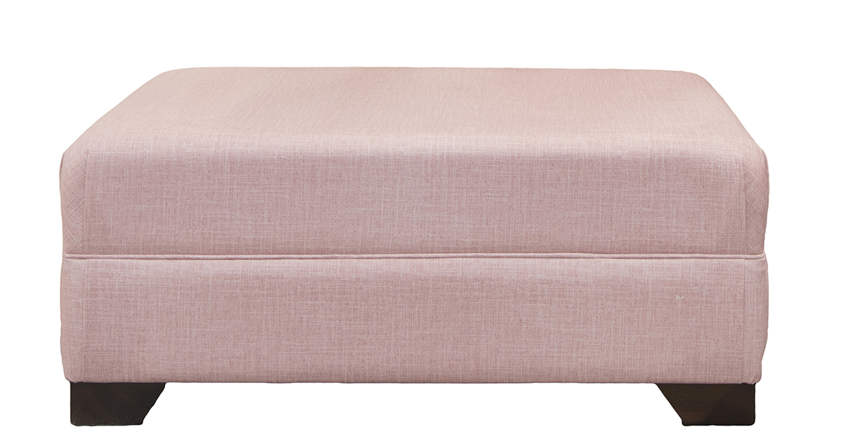 Monroe Footstool in Havana Rose, Silver Collection Fabric