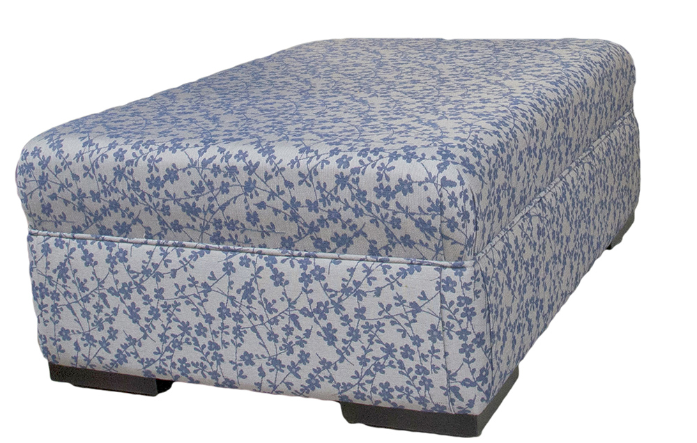 Monroe Footstool  in Kwint Navy Silver Collection Fabric