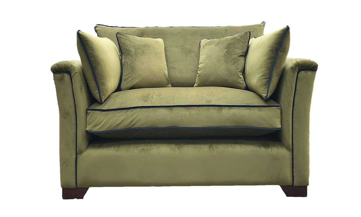 Bespoke Size Monroe with Fibre Cushion Interior in  Luxor Artichoke, Silver Collection Fabric