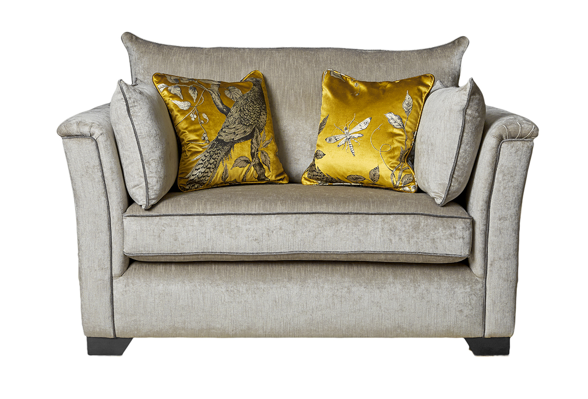 Monroe Love Seat in Edinburgh French Grey. Silver Collection Fabricjpg